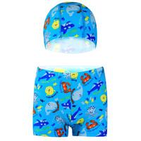 宜肤 儿童泳衣男童平角泳裤游泳衣带帽套装 浅蓝 XL       1508 (XL、莱卡、分体)