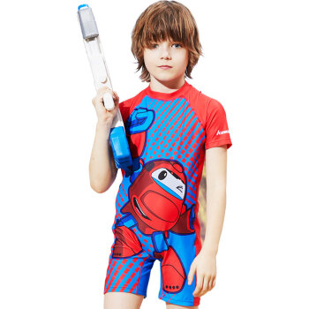 KAWASAKI 川崎 儿童泳衣男童泳裤泳镜套装男孩大中小童泳衣连体套装 高铁侠三件套K-013 红色 XL        K-013 (红色、 XL、锦纶、连体)