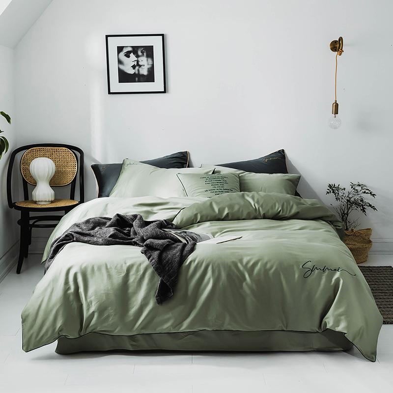 J.H.Longess 布之美 贡缎长绒棉床单被套四件套 (浅蓝灰、1.5m/1.8m)