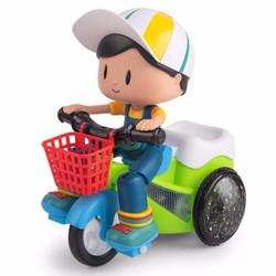 抖音同款儿童玩具电动男孩特技三轮车(车身颜色随机)送电池+螺丝刀