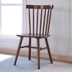 温莎椅 北欧家居实木餐椅 木靠背家用餐厅椅 简约现代休闲椅 咖啡厅餐椅 白蜡木头ins椅 创意公主椅 胡桃色 白蜡木