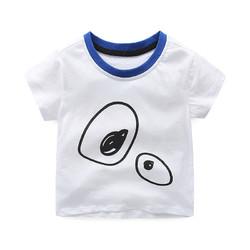 印象童年童装男童白色t恤薄款短袖透气儿童夏天上衣经典大眼睛中性款短袖体恤 *3件