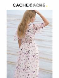 cachecache碎花连衣裙女士夏装新款法式桔梗裙维多利亚露肩连衣裙
