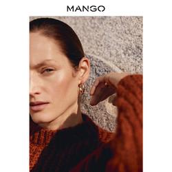 MANGO女装2019春夏黄铜材质凸纹圆圈耳环