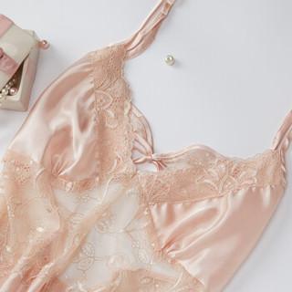 俞兆林 吊带睡衣女性感蕾丝美背睡裙春夏季仿真丝花边情趣女士家居服单件 香槟色 均码