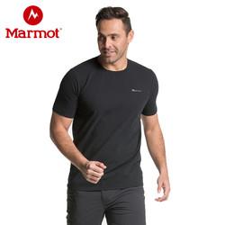 marmot土拨鼠春夏新款户外男士柔软舒适弹性短袖棉T恤