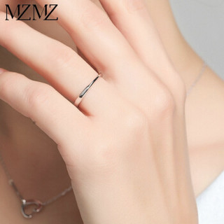 MZMZ 轻奢品牌925银镀白金情侣戒指一对莫比乌斯环素圈刻字情侣对戒七夕 一对价【白金色 活口版可调节大小】    MZOLD-1114