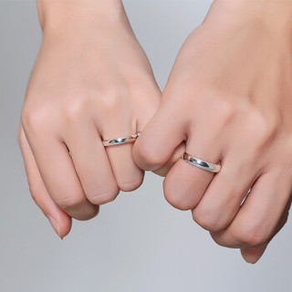 Dirholl 迪后 轻奢品牌情侣戒指女定制刻字999银一对男女对戒日韩饰品学生活口简约个性 弧面款 活口一对(999银)    DHSZR007-4M3M