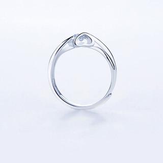 LAOLATU 劳拉图 品牌情侣戒指男女简约一对戒银镀铂金开口对戒刻字定情镶施华洛世奇锆钻 情侣戒指(一对)    LT3108
