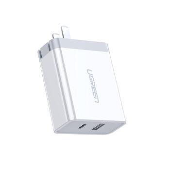 UGREEN 绿联 绿联 PD20W/18W充电器双口30W快充头通用苹果iPhone12/SE2/11/XsMax/XR/8华为手机iPad Type-C数据线插头