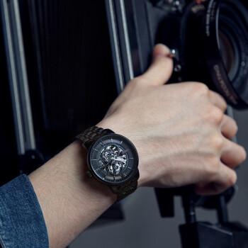 FIYTA 飞亚达 手表 男时尚商务自动机械表镂空男表 防水真皮皮带男士手表 DGA23001.BBB