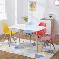 TIMI 天米 现代简约餐桌椅(白色 1.4米餐桌+4把彩色椅