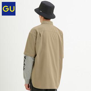 GU 极优 KODAK 柯达合作款拼接宽松衬衫 320268