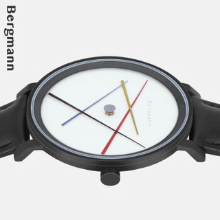 Chrono Bergmann 贝格曼 手表 前卫现代创意四维立体读时款 2004黑壳四彩针黑皮-女  2004