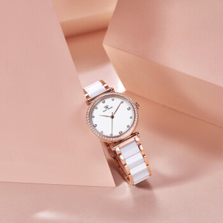 TIAN WANG 天王 手表 新品女士手表时尚潮流陶瓷带女表送女友礼盒 白面玫瑰金圈  LS31044