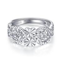 CABIOYA 卡铂亚 pt950铂金戒指女 心心相印白金戒指女款 5.36克    6970569563404