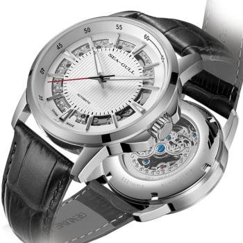 SeaGull 海鸥 手表 男 自动机械表镂空款男士休闲时尚商务国表防水皮带腕表女 6067K镂空白盘条棍刻度黑带  D819.625
