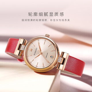 ROSSINI 罗西尼 手表典美系列女表优雅风机械表皮带女士腕表 红色皮带718752G06E 718752