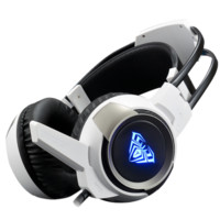 AULA 狼蛛 7.1头戴式重低音话筒  带麦发光 (360°麦)(USB)7.1金属灰七彩光  G91 (金属灰、有线、USB+3.5毫米音频接口)