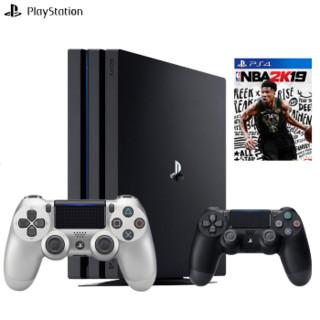 SONY 索尼 CUH-7209B B01 ps4proslim 娱乐游戏机 pro1T+银手柄+nba2k19 (黑色)