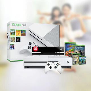 Microsoft 微软 Xbox One S 多人体感游戏机无线 电视家用 娱乐游戏机【单手柄体感版】含体感套+送超700款游戏 (白、8GB)