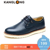 康龙男士商务休闲皮鞋春季系带真皮英伦伐木鞋低帮男鞋休闲鞋子