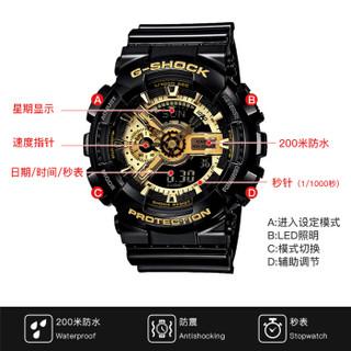 CASIO 卡西欧 手表正品g-shock漫威黑金防水运动男表  GA-110GB-1A