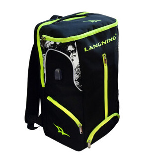LANGNING 朗宁 羽毛球包双肩2支装男女款背包书包网球拍包装备多功能三支大容量羽毛球拍包 黑色双肩背包(送手胶)