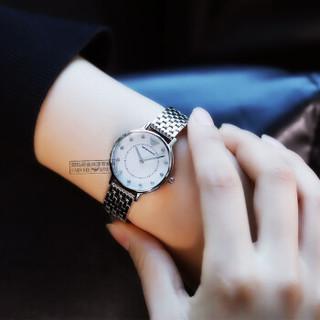 EMPORIO ARMANI 阿玛尼女士手表卡帕KAPPA系列满天星时尚贝母表盘简约休闲女表 银色 钢带 AR2511