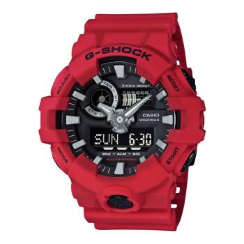 CASIO 卡西欧  G-SHOCK系列 GA-700-4A 男士石英手表 53.4mm 黑盘 红色树脂带 圆形