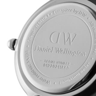 Daniel Wellington 手表女28mm丹尼尔惠灵顿手表时尚简约超薄瑞表新款石英金属编织钢带女表 银色边白盘 DW00100220
