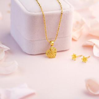 六福珠宝 GMGTBE0007 网络专款足金栀子花黄金耳钉耳环耳饰