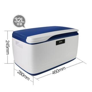 Qicaigezi 七彩格子 收藏箱Q款 塑料特大号  中小号加厚 32升蓝色 1个装