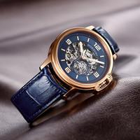 ROSSINI 罗西尼 手表勋章系列男士机械腕表时尚个性防水皮带手表镂空自动机械表男517793 蓝盘皮带男表42mm 517793