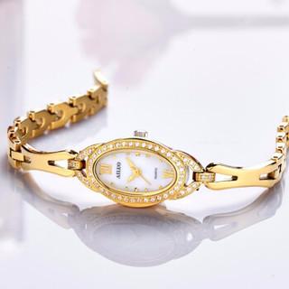 Ainol 艾诺 正品手表女钢带潮流时尚手链女表女士腕表石英表防水钟表 高贵金色7117