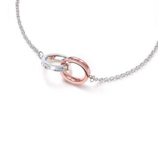 Tiffany&Co. 蒂芙尼 925银扣环配玫瑰金色扣环手链 寓意永恒 37088412 扣环手链