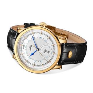 KronSegler 坤格德国进口手表 时代系列男士手表防水自动机械表 奢华金 透视底盖 日期显示 KS777.WG  KS777