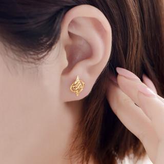 SUNFEEL 赛菲尔 RDA00956 黄金耳钉锦瑟9999女款 镂空菱形显大女金耳饰耳环耳勾