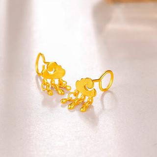3D-GOLD 金至尊 祥云黄金耳圈 雨过天晴黄金耳钉 足金祥云耳钉 一对 女款耳圈