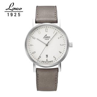 LACO 朗坤 德国手表自动机械手表欧美品牌包豪斯简约纤薄白色真皮情侣腕表862063 862064男款-40mm  862063