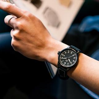 LACO 朗坤 德国手表石英男士手表欧美商务休闲腕表飞行员运动军表夜光真皮  861973