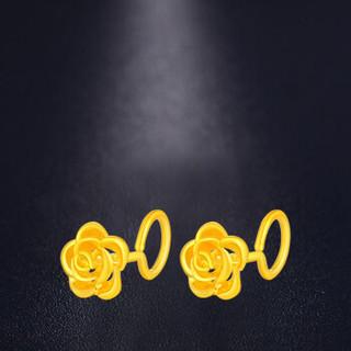 China Gold 中国黄金 GA0E070 足金首饰足金玫瑰芬芳花头耳钉黄金耳饰一对