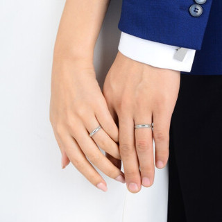 Chow Sang Sang 周生生 Pt950铂金Promessa戒指白金情侣对戒 结婚钻石戒指男女款 85438R 时间约6-8周