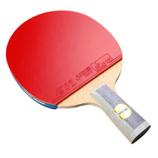 DHS 红双喜 天极蓝乒乓球拍 7层纯木蓝海绵乒乓球球拍7星级直拍横拍双面反胶 TB6直拍 天极蓝
