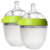 2个装|可么多么(como tomo)婴儿防胀气宽口径硅胶绿色奶瓶 150ml EN_150TP
