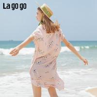 Lagogo2019夏季新款V领甜美气质连衣裙女印花粉色长裙IALL304A36