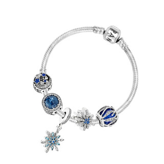 PANDORA 潘多拉 蓝色夜空醉人月夜自然的光华耀目烟花冰蓝雪花925银手链 XZT0092-17
