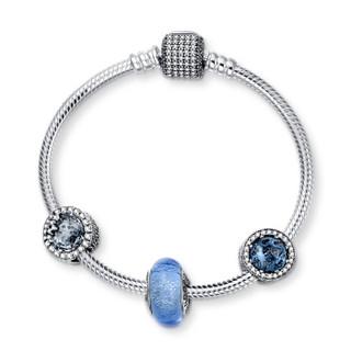 PANDORA潘多拉 心之璀璨系列闪耀的心DIY串珠手串新品套装套组 蓝色 17  D23085