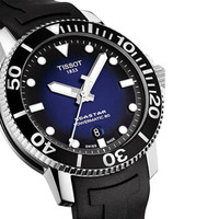 TISSOT 天梭 瑞士手表 海星系列橡胶表带机械男士手表潜水表T120.407.17.041.00