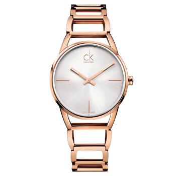 CalvinKlein 卡文克莱手表STATELY系列女表简约时分针玫瑰金材质银盘钢带 K3G23626